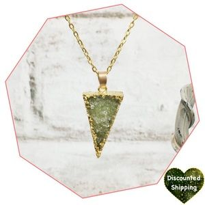 Light Green Crystal Triangle Necklace